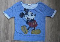 Disney Parks Short Sleeve Distressed Mickey Mouse Shirt Top Sz Medium Blue