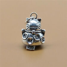 925 Sterling Silver Luck Lucky Cat Bell Charm Low Sound Chinese Fu Good Fortune