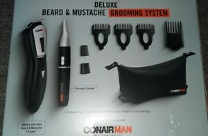 CONAIR MAN DELUXE BEARD & MUSTACHE 9pc. GROOMING SYSTEM BATTERY OPERATED NIB