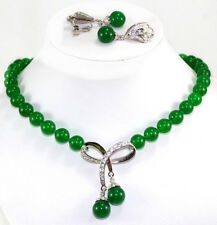 Red Round South Sea Shell Pearl&Green Jade Necklace Earrings Set Party Jewelry