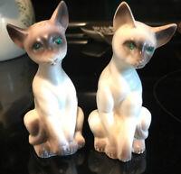 VTG ARTMARK SIAMESE CATS SALT PEPPER SHAKERS KITTY EMERALD RHINESTONE EYES