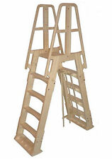 VinylWorks Slide Lock SLA001 A-Frame Above Ground Pool Ladder (Taupe)