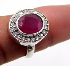 5.10 Gm 925 Sterling Silver Lab Created  Ruby & C.Z. Cut Stone Ring 7.5 US M-686