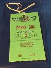 Michigan State / Notre Dame - Press Box Pass - September 18, 1993