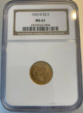 1925 D Indian Head 2 1/2 Dollar Gold Coin MS 61 NGC