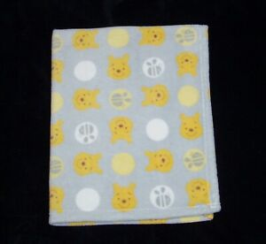 Disney Baby Winnie The Pooh Grey Yellow Blanket White Circles Bee Security Lovey