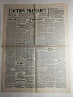 N322 La Une Du Journal L'action française 31 Janvier 1933 1789 1792 la politique