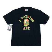 2006 Bape Apee Psyche Camo College Logo Tee T Shirt Black Size S Small A Bathing