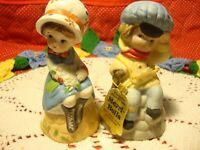 Set 2) Vtg 1978 Jasco Bisque Porcelain Hand-Crafted Bells Girl/Boy Figurines 348