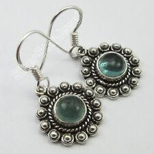 """Women's Jewelry !! 925 Sterling Silver GREEN APATITE OLD STYLE Earrings 1.2"""""""
