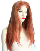 HUMAN HAIR Indian Full Lace Thin Skin Wig Silk Top Remi Remy T-Color Auburn Red