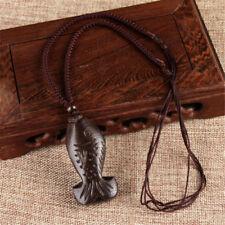 Vintage Unisex Buddha Blessing Ebony Wood Carving Rope Pendant Long Necklace Tail Fish