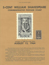 #1250 5c William Shakespeare Stamp Poster- Unofficial Souvenir Page FD HC
