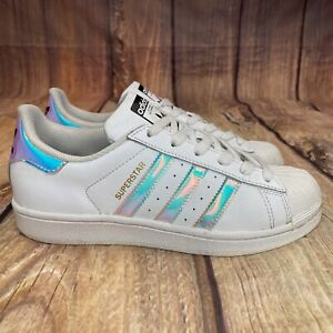 Adidas Superstar Holographic Shoes Yth Sz 4.5 Women Size 6 Athletic AQ6278
