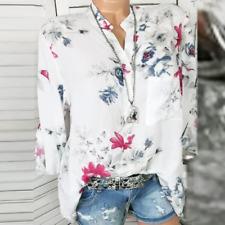 Loose Tunika Schlupf Blusenshirt Floral Weiß Turn Up Ärmel 44 46 48  **Neu**