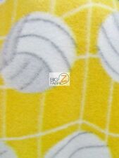 VOLLEYBALL WHITE NET YELLOW FLEECE PRINTED FABRIC (1065) BY THE YARD BLANKET