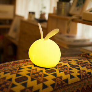 7-Color Cute Rabbit LED Dimmable Night Lamp USB Rechargeable Silicone Kids Gift
