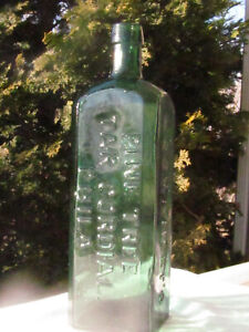 Antique WISHART'S PINE TREE TAR CORDIAL PHILA PATENT 1859  Teal Green Bottle