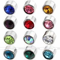 Pair 12 Month Birthstone 6mm Bezel Crystal Ear Stud Earrings Men Women JewelryAD