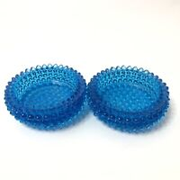 Colonial Blue Hobnail Round Ashtrays by Fenton Set of 2