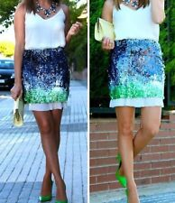 ZARA SEQUIN ELASTICATED MINI PARTY SKIRT SIZE s  green blue white 1a