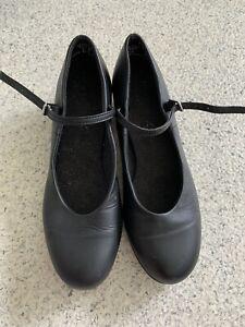 Girls Capezio Tele Tone Tap Shoes Size 6 Black Leather