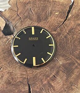 Vintage Gruen 422 watch dial mid-century design gloss black gold markers 28.9mm