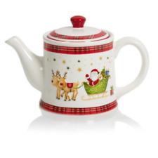 Christmas Tableware Ceramic Santa Plaid Festive Design Teapot Tea Pot New