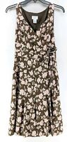 Ann Taylor Loft Sleeveless Dress Sz 4 Brown Pink Floral Knee Length (b1)