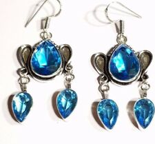 BLUE TOPAZ  STERLING SILVER FILLED DROP EARRINGS