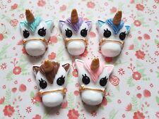 5 x Cute Unicorn Head Flatback Resin Embellishment Crafts Cabochons Decoden UK