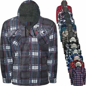 Mens Thick Fleece Lined Padded Sherpa Fur Check Lumberjack Shirt Winter Work