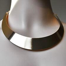 Halsreif Statement Collier Kette Blogger Choker gold-farbig Metall massiv glatt