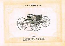 "Catalogue Advertising - Carriages by G & D Cook - ""IMPERIAL NO TOP"" - 1860"
