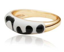 Animal Design White Black Painted Gold Ring medium size O diameter 17 mm FR59