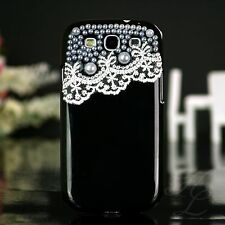 Samsung Galaxy S3 NEO i9300 Hard Case Schutz Handy Hülle Etui Perlen Schwarz 3D