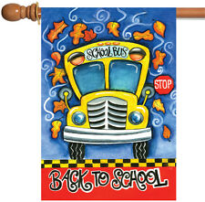 NEW Toland - Back to School - Cute Yellow Bus Fall Autumn Leaves House Flag