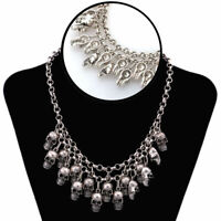 Punk Style Jewelry Statement Bib Chunky Gothic Skull Necklace Pendant D7T8
