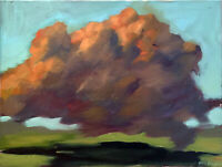 "Cloud Horizon Landscape Sunset Surrealist Oil Painting Original 18""x24"" Signed"