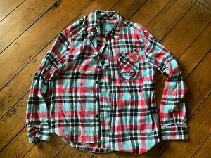 Burton Mens  Flannel Button  Shirt Turq/Red/Black Plaid Long Sleeve Medium
