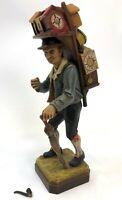 "RARE 10"" German Black Forest Carved Wood Travelin Clock Salesman Figure Figurine"