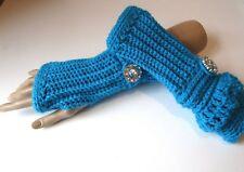 Crochet Fingerless Gloves~Ocean Blue~Rinestone Button