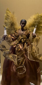 Kurt Adler UL 10-Light African American Angel Christmas Treetop Figurine,