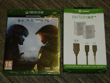 Microsoft Xbox One Lot Halo 5 Wächter + Dual Play Charge Kit Akku nagelneu