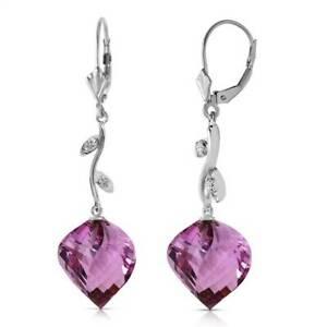 Amethyst & Diamond Earrings In 14K White Gold (21.52 ct. tw