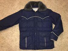 Vtg Sundance Products Western Goose Down Vest Blue Faux Fur Collar Men's Small