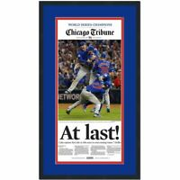 Framed Chicago Tribune At Last Cubs 2016 World Series Newspaper 17x27 Photo