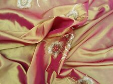 Embroidery Sequins Taffeta Gold Shot Pink Indian Sari Dress Party Wedding Fabric