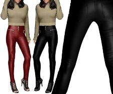 Neuf pour Femme Sexy Pantalon Cuir Look Slim Fit Étroit 3 Bouton Fermeture Jean