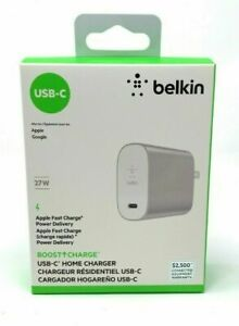 Belkin Charge 27W USB-C Home Charger - 27 W Output (F7U060dq-SLV) - NEW™